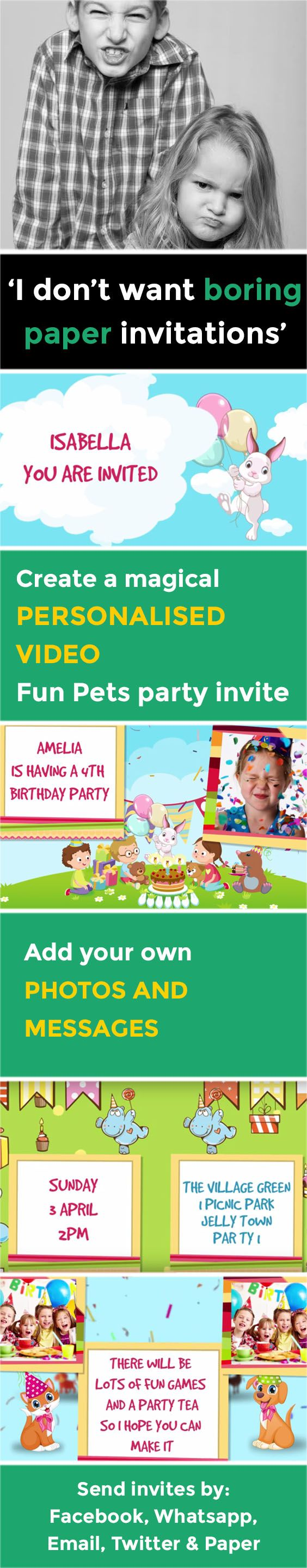 invitation words forst birthday party%0A Create a magical VIDEO party invitation  www poshtiger co