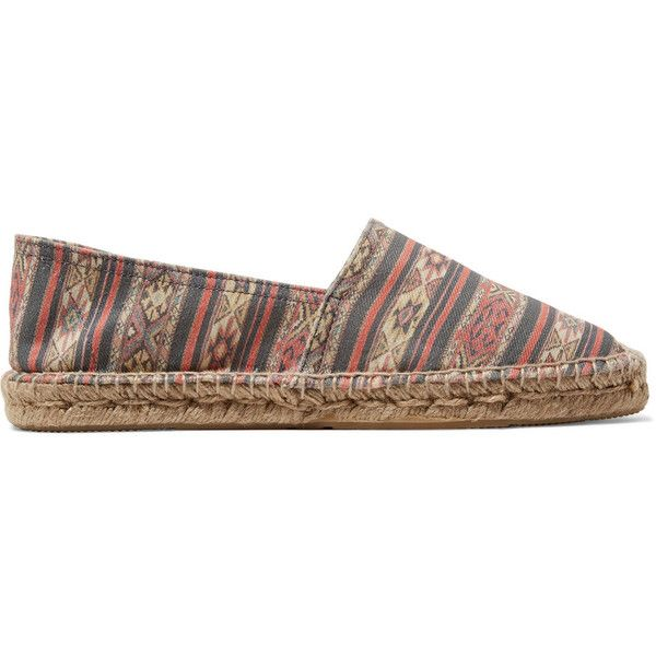 Étoile Isabel Marant - Cana Printed Canvas-twill Espadrilles ($78) ❤ liked on Polyvore featuring shoes, sandals, multi, multi color sandals, colorful shoes, canvas espadrilles, espadrille sandals and slip on espadrilles