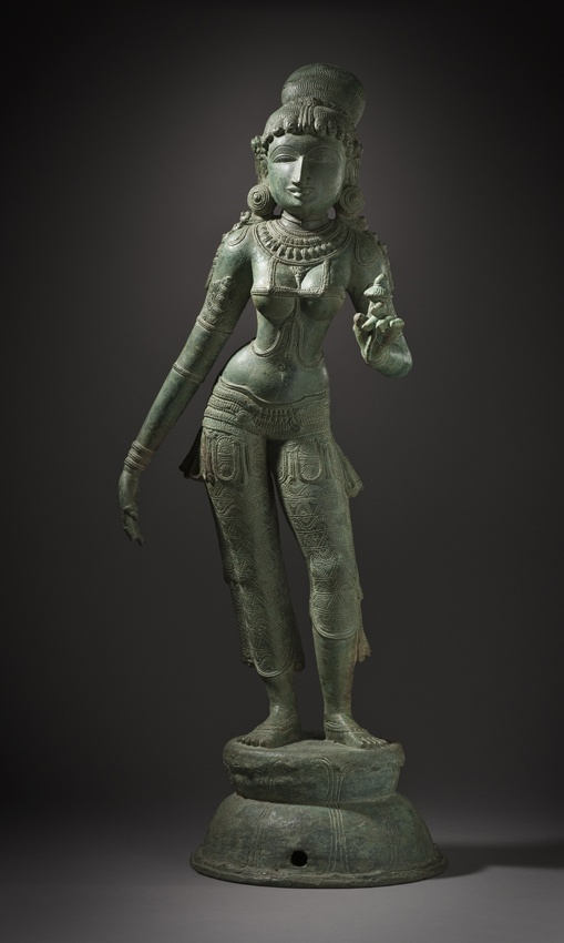 India, Tamil Nadu  Rukmini, late 12th-13th century  Sculpture; Metal, Copper alloy, 27 1/8 x 9 3/4 x 5 5/8 in. (68.9 x 24.8 x 14.3 cm)  LACMA collections online