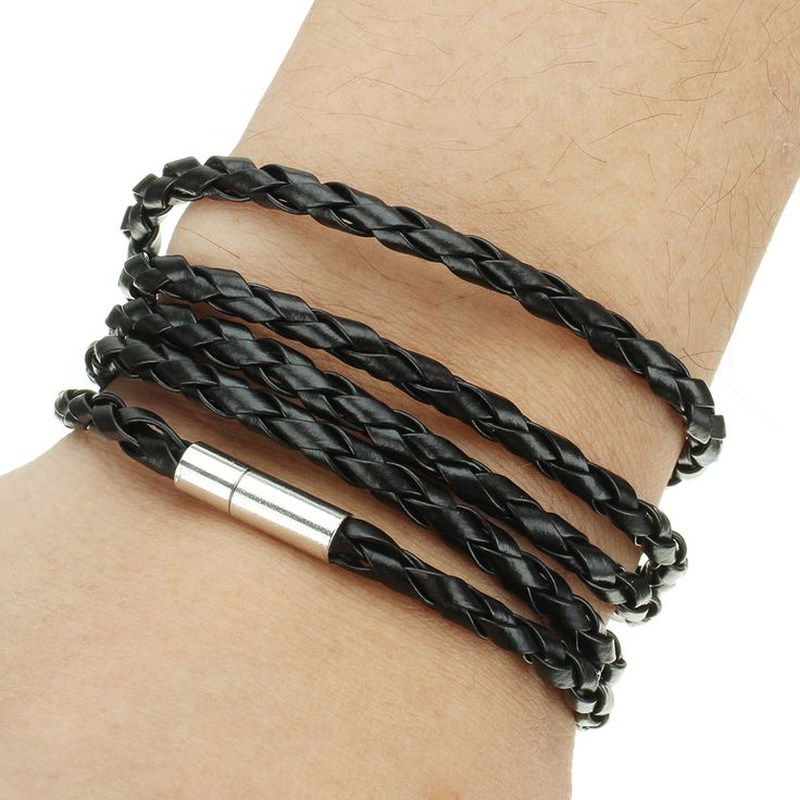 Free Shipping 2017 New Women Jewelry Wristband Bracelet Leather Cord Rope Friendship Bracelets 5 Loop Men Punk Charm Bracelet