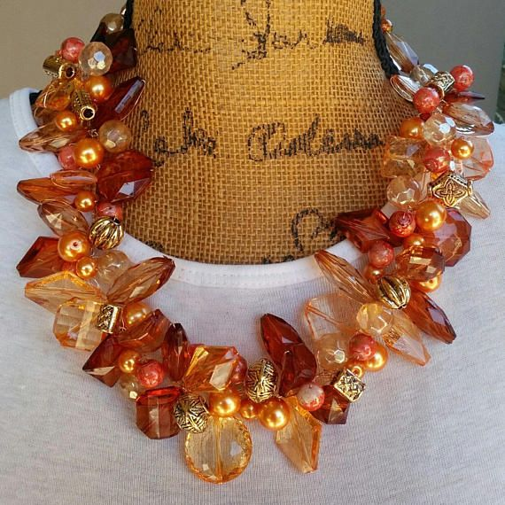 Please Pin if you like this new design! 👏👏👏  See What's New in the Bling Box!  Check out my 20% OFF Sale!!!! Use Code: 20OFF  Chunky Statement Necklace, Statement Collar, Statement Bib, Gift for Her, OOAK Necklace, Gold Statement Necklace #bestbeadedbling