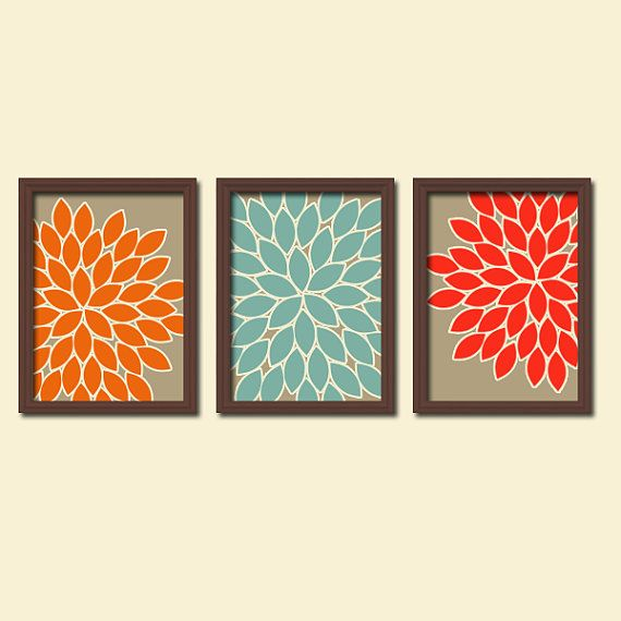 Cabbage Rose Flower Print Purple Abstract Art Kitchen Wall: 154 Best Orange & Blue Rooms Images On Pinterest