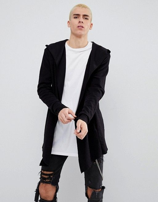 Bershka Textured Cardigan With Hood In Black