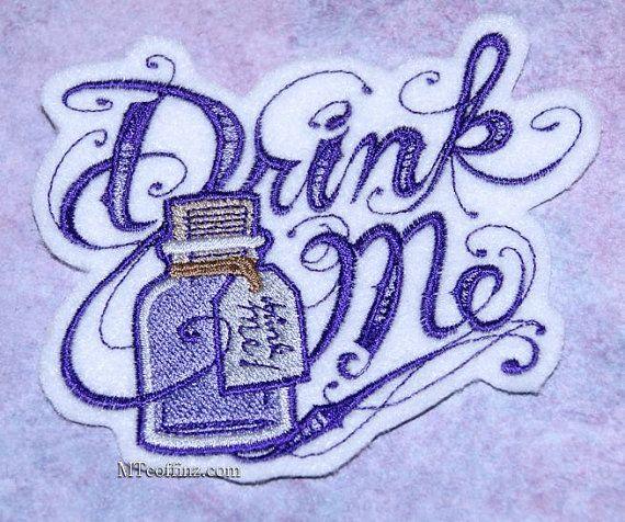 Drink Me Alice in Wonderland Purple Bottle Iron On Embroidery Patch MTCoffinz