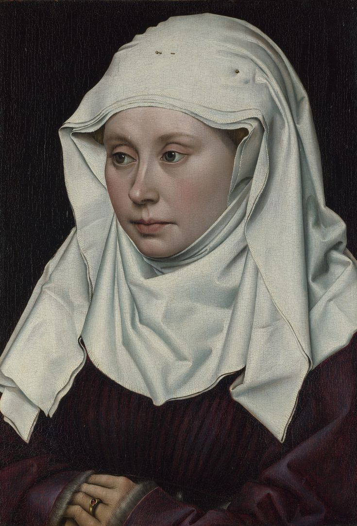 Robert Campin (1375/1379–1444) Portrait of a Woman circa 1430-1435 oil on panel 40 × 27 cm (15.7 × 10.6 in) National Gallery, London