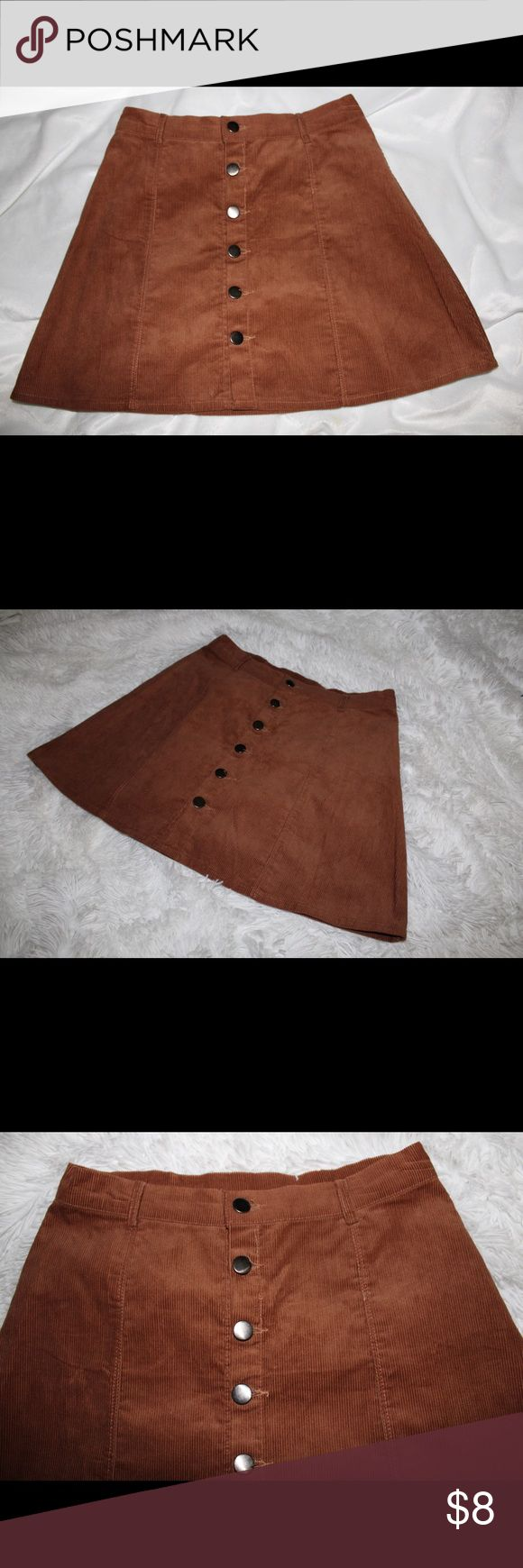 BUTTON CORDUROY A-LINE SKIRT Cute button up skirt. Fits well, just too short for my teacher dress code. Only worn once. Because it's ROMWE there are no tags, but I did order a medium. ROMWE Skirts Mini