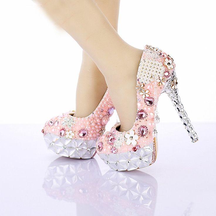 2016 strass rosa flor vestido de noiva sapatos lindo cristal plataformas de salto cerimônia de casamento sapatos de festa de luxo Prom bombas - Pandora Fashion