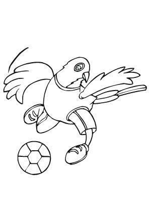 ausmalbild fussballspielender vogel zum ausmalen. #