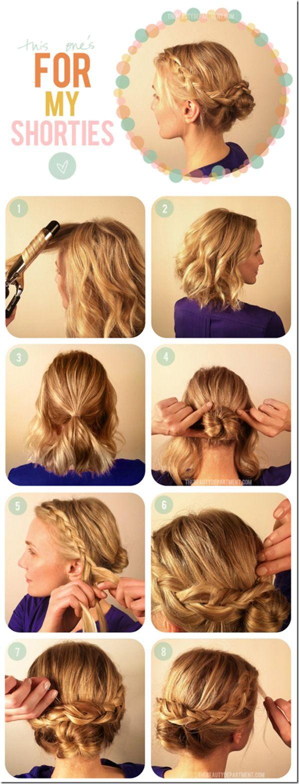 A cute short hair look.: Shorter Hair, Hair Tutorials, Bridesmaid Hair, Long Hair, Shorts Hair Do, Hairstyle, Shorts Hair Style, Braids Buns, Hair Buns