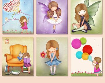 Arte de pared de habitación de niñas dormitorio niños por jolinne