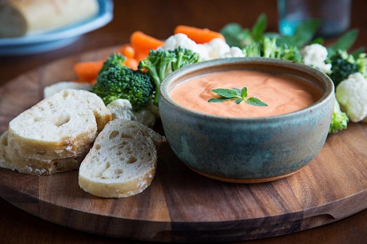 Red Pepper Aioli  12.3-ounce package soft silken tofu 2 tablespoons lemon juice 1 tablespoon cider vinegar dash salt ½ cup roasted red peppers  Place the tofu in a food processor and process until fairly smooth. Add remaining ingredients and process until very smooth (this may take several minutes). Refrigerate at least 1 hour for flavors to blend. Note: you may either buy the red peppers already roasted in a jar (just be sure they are not packed in oil) or you can make your own.