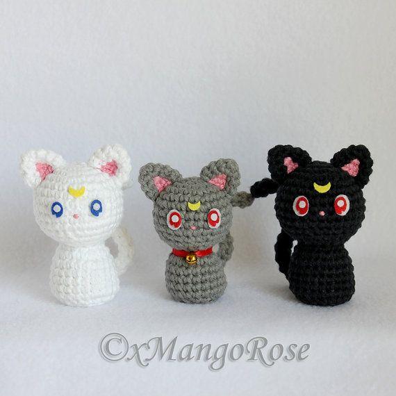Sailor Moon Cats, Luna, Artemis, Diana Plush Toy, Amigurumi, Doll, Crochet, Plushie, Yarn, Stuffed Animal, Senshi, Usagi Tsukino, Anime Gift