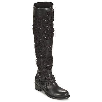 Vysoke kozacky nad kolena Mimmu VITELLO NERO Černá 350x350