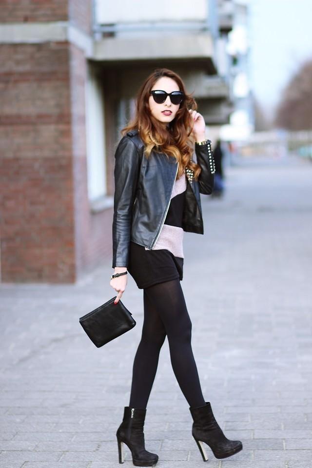Shop this look on Kaleidoscope (dress, jacket, sunglasses, bootie)  http://kalei.do/WjoyVsA1LiJxb5Hn