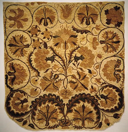 Bed rug [American; Colchester, New London County, Connecticut] (33.122) | Heilbrunn Timeline of Art History | The Metropolitan Museum of Art
