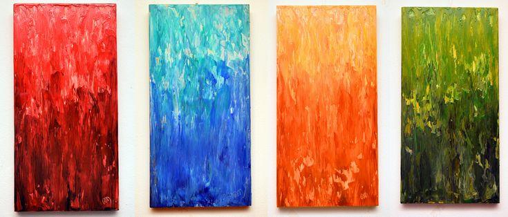 Dana Haidau - Beeswax light, encaustic painting, 4pcs x 25x50 cm
