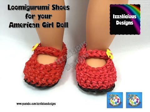 Loomigurumi MaryJane Shoes for American Girl Doll - Amigurumi crochet with Rainbow Loom Bands - YouTube