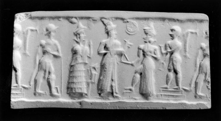 Cylinder Seal with a Deity Accepting an Offering  This seal depicts a favorite scene of the Old Babylonian period in which a worshiper stands among a number of gods. The worshiper, in a long robe and cap, offers an animal to the sun-god Shamash, who rests one foot on a stool and holds the saw of justice in his outstretched hand. The sun disk, nestled in a crescent, floats between the two. The goddess Lama stands with her hands raised in supplication. Behind her, a male figure in a kilt holds…