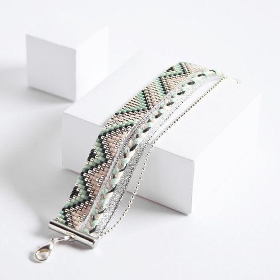 Bracelet en perles miyuki tissé / été / / ARGENT, TURQUOISE, ROSE, CORAIL /