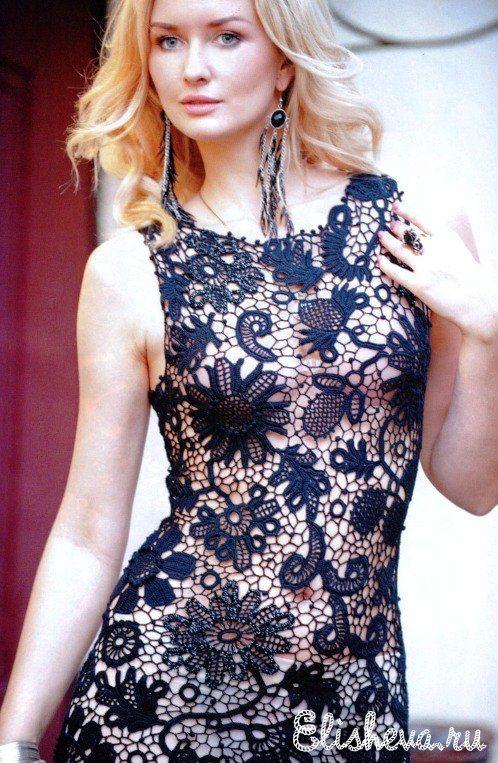 Ажурное черное вечернее платье вязаное крючком