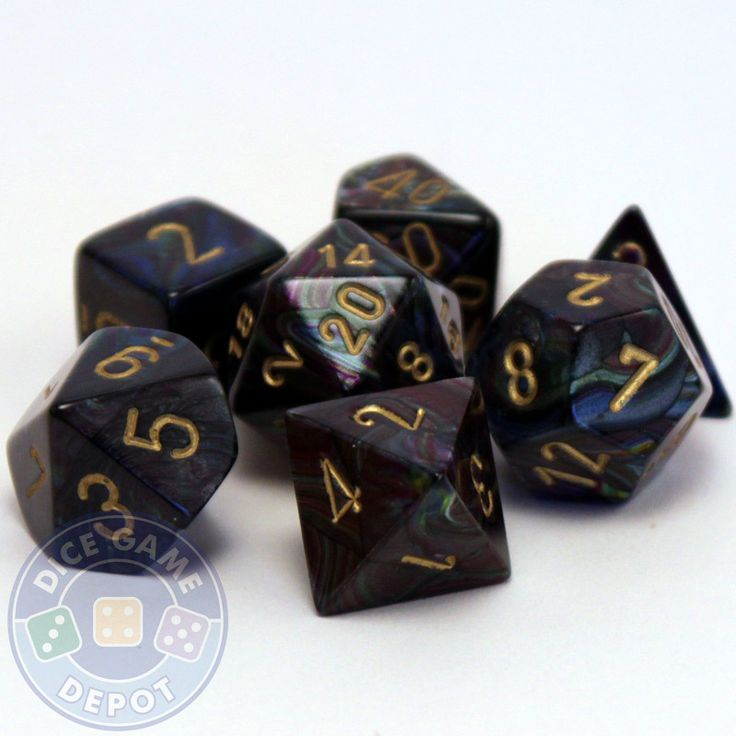 This set of Shadow dice contains the following: 1 four-sided dice (d4) 1 six-sided dice (d6) 1 eight-sided dice (d8) 1 ten-sided dice (d10) 1 percentile dice (d%) 1 12-sided dice (d12) 1 twenty-sided