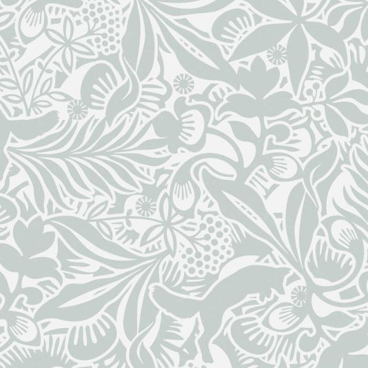 Fantasia Wallpaper A charming wallpaper shown in duck egg and off-white, featuring a tangle of foliage and pouncing foxes...how many can you spot? The nature of the printing process results in the design having a unique veined effect for added depth and character.