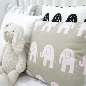 Love Baby Elephant Walk Cushion Cover - Pink by Cushionopoly - Cute baby room colours