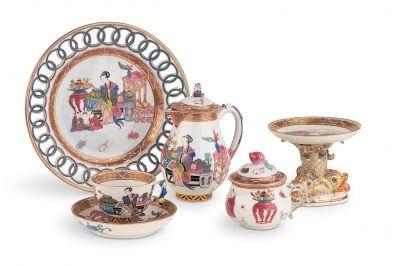 Tál - Ming ornamentikával festett kávéskészlet része - Herend