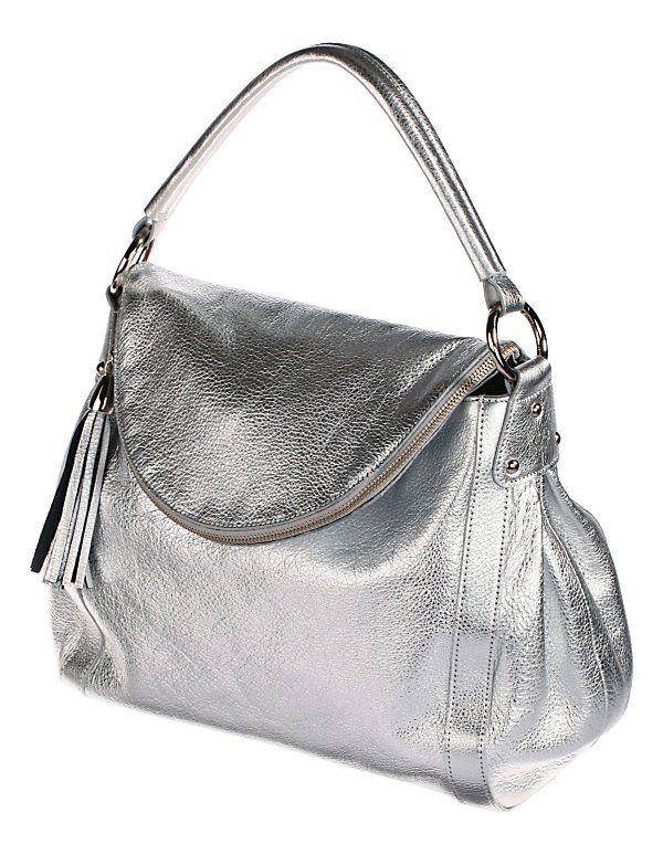 Große Handtasche aus Leder mit elegantem Metallic-Finish.