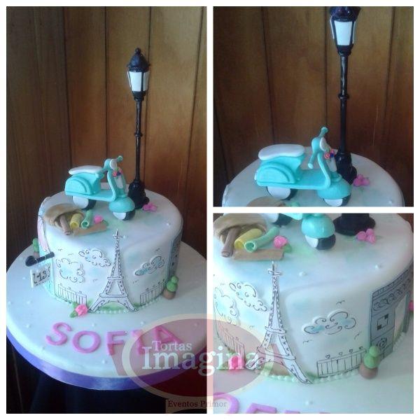 torta París - torta cumpleaños mujer - torta personalizada . torta fondant