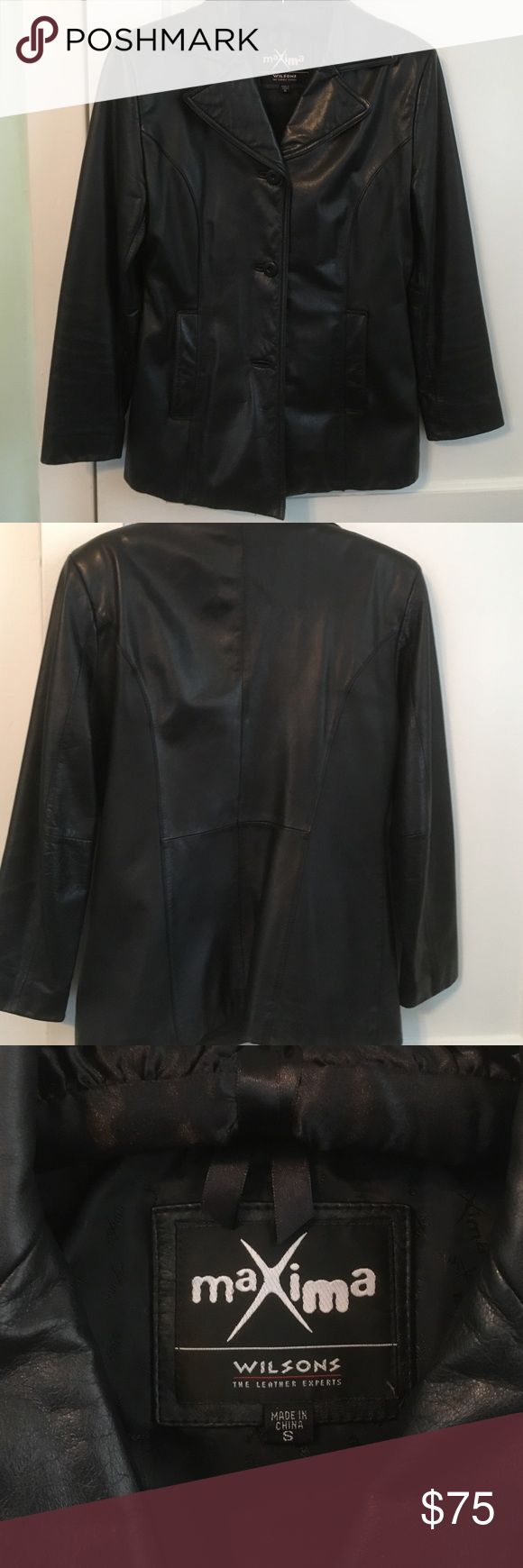 Ladies leather jacket Black leather very soft very good condition lots of nice details  has a spoon the lining but it's inside and doesn't show Maxima by Wilson Jackets & Coats