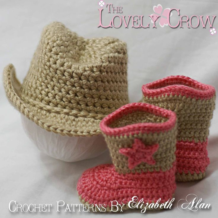 Cowboy Hat Cowboy Boots Crochet Patterns. Includes patterns for Boot Scoot'n Boots and Boot Scoot'n Cowboy Hat. $10.75, via Etsy.
