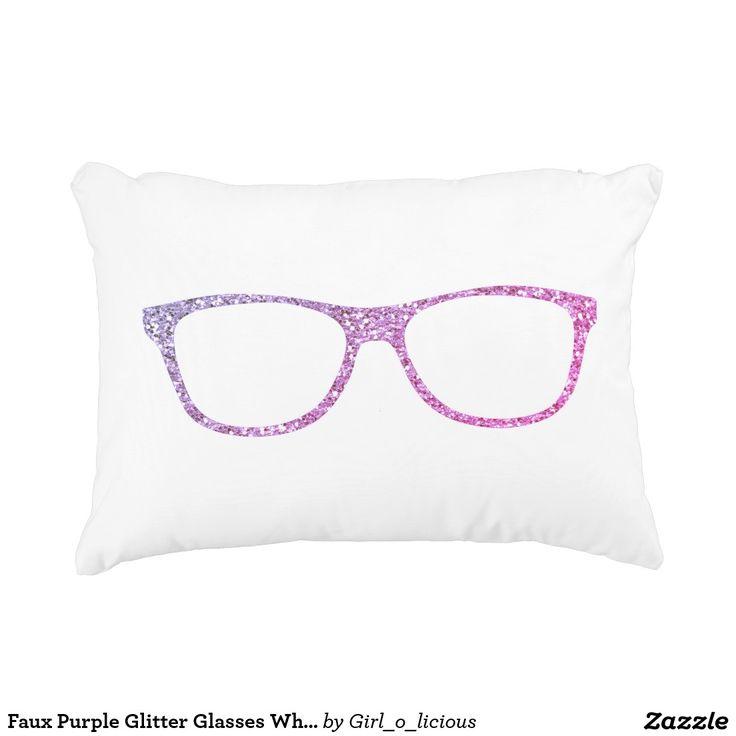 Faux Purple Glitter Glasses White Accent Pillow