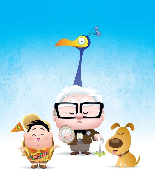 Cute #Pixar - UP: Kids Movies, Disney Fan Art, Disney Fans Art, Disneyfanart, Jerrod Maruyama, Disney Pixar, Disney Geek, Disney Art, Japan Illustrations