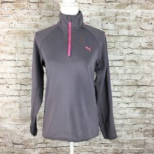 Puma Women's long sleeves top gray/Pink Dry Cell 1/4 Zip Pullover Active Wear  | eBay