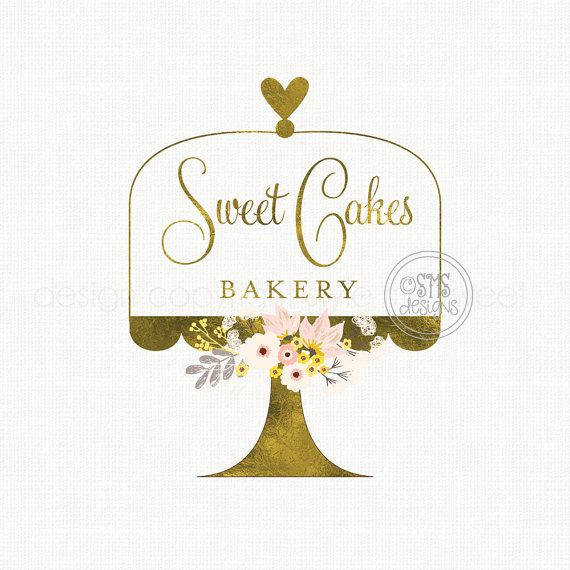 cake stand logo premade logo design bakery by stylemesweetdesign