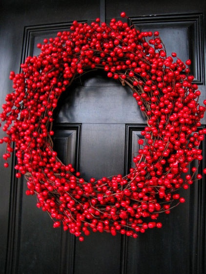 Decadent Extra-Large Cranberry Wreath by The Wright Wreath » In New England, cranberries are a resounding symbol of fall. Adorning a front door, they add a perfectly crimson punch of color.