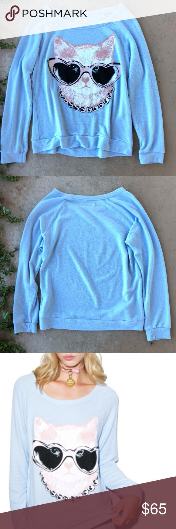 Lauren Moshi Brenna Fancy Cat Pullover Sweater Super soft baby blue pullover jumper/sweater with a fancy cat graphic. Factory pre-pilled and so cozy! Size small. In excellent condition, no flaws. Lauren Moshi Sweaters Crew & Scoop Necks