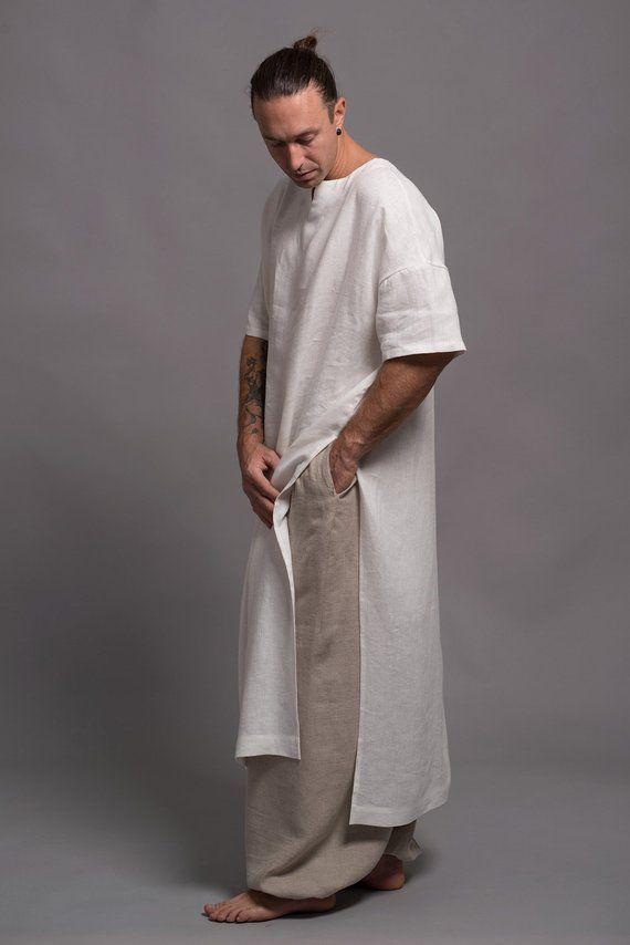 Long Linen Shirt For Men White Flax Tunic Mens Dress Kaftan Etsy Mens Linen Outfits Long Linen Shirt Linen Shirt Men