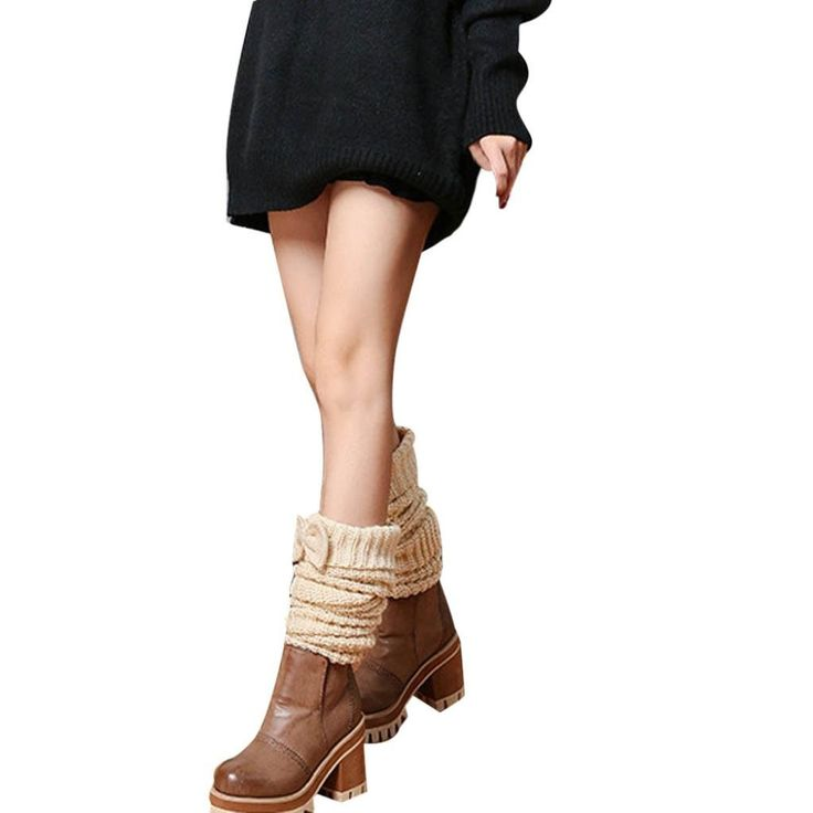 Muxika Winter Women Bowknot Knitted Step Foot Stocking Leg Warmers Boot Cover (Beige). ♥Style:Boot Cuffs,Leg Warmer. ♥Length: about 60*10cm(Elastic)(The manual measurement may be a little error). ♥Super Soft Feel for Maximum Comfort. ♥Ideal for cold weather to keep your legs warm at home at the gym or at winter sports. ♥You can Pair them with tights, leggings, skirts, skinny jeans for a sweet cozy look.