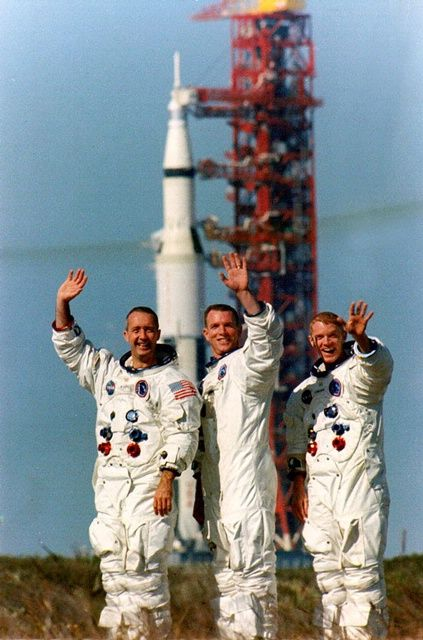Apollo 9 crew James A. McDivitt (CMDR), David R. Scott (CMP) and Russell L. Schweickart (LMP).  Apollo 9 launched 45 years ago today on the first flight of all Apollo hardware in Earth orbit. | Photo credit: NASA