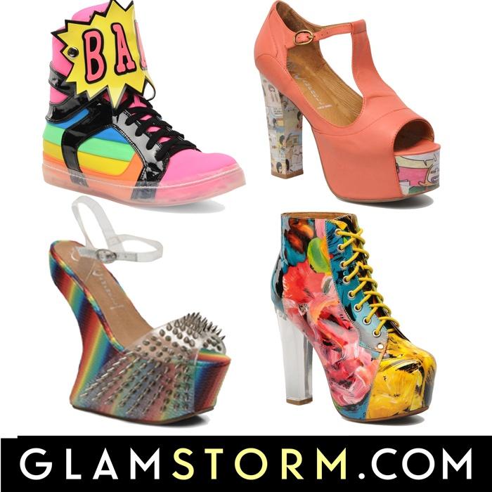 Kolorowe nowości od Jeffrey'a Campbel'a. Ma wspaniałe choć odważne buty, ale bardzo nam się podobają! /Colorful boots from jeffrey campbell in new arrival. His shoes are great! We like them!     http://glamstorm.com/pl/przymierzalnia/ubrania/c/buty#cat_54