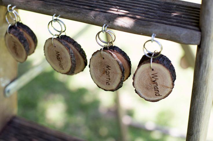 Wooden keyring wedding favours
