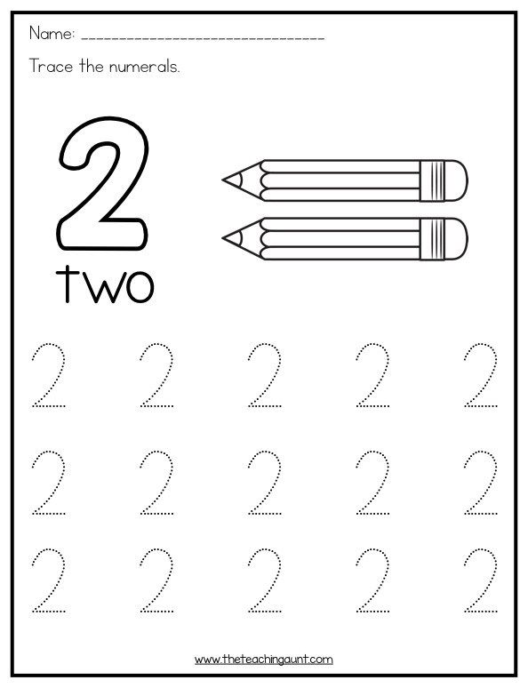 Trace and Color Numbers 1-10 - The Teaching Aunt | Numbers ...