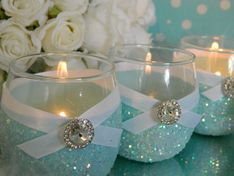 Candy jars at a TIFFANY & CO Bridal Shower Party!  See more party ideas at CatchMyParty.com!