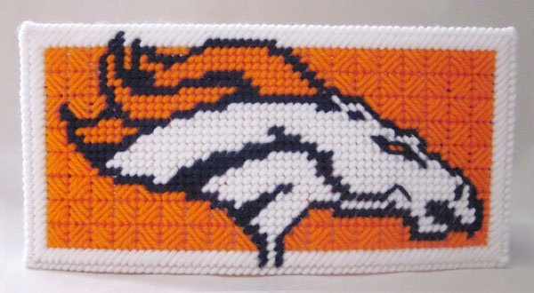 Denver Broncos wide tissue box cover in plastic canvas PATTERN ONLY. $4.00, via Etsy.