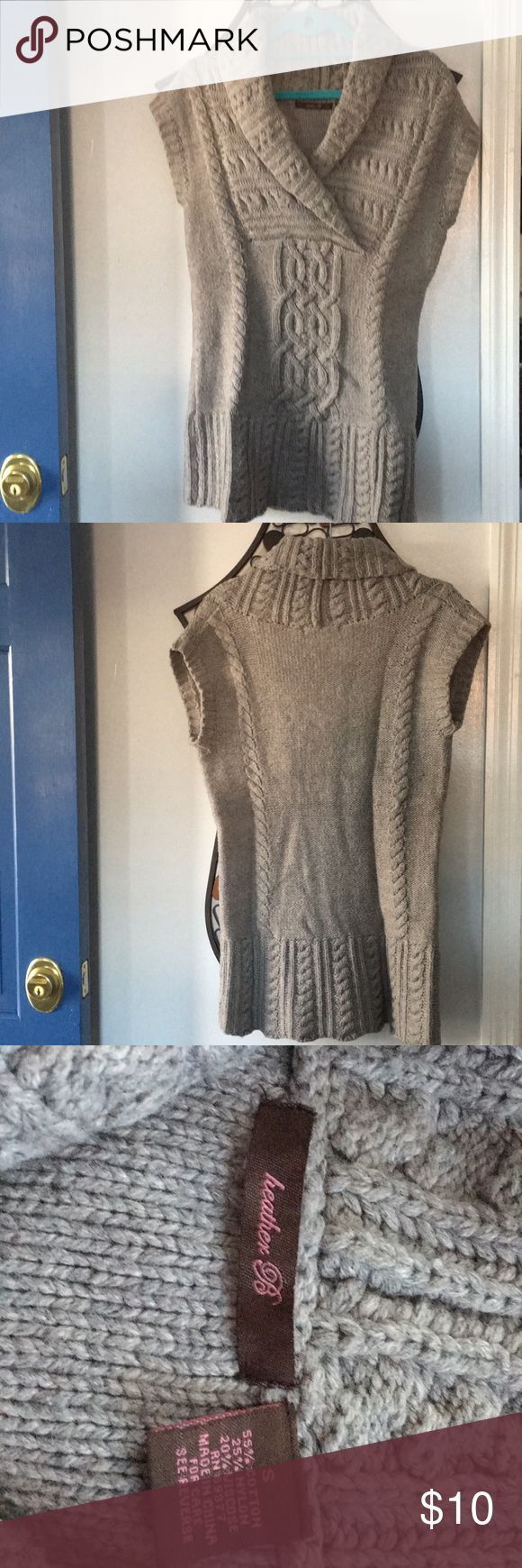Grey Sweater sz S Grey sleeveless fitted sweater, size small, by heather B.  Hip length Great over long sleeve tee with leggings or jeans heather B Sweaters V-Necks
