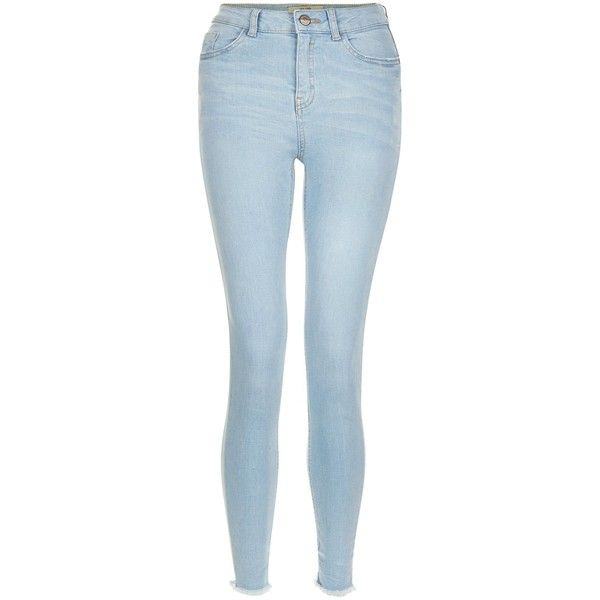 New Look Light Blue Fray Hem Skinny Jeans ($33) ❤ liked on Polyvore featuring jeans, wedgewood blue, 5 pocket jeans, light blue denim jeans, skinny fit jeans, zipper skinny jeans and button-fly jeans