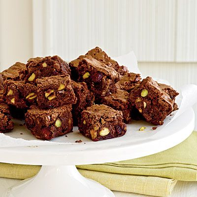 Cranberry and Pistachio Brownie Bites | These fudgy treats—which you can make ahead and freeze in an airtight container, unsliced, for up to three weeks—are an ideal addition to a cocktail party menu.