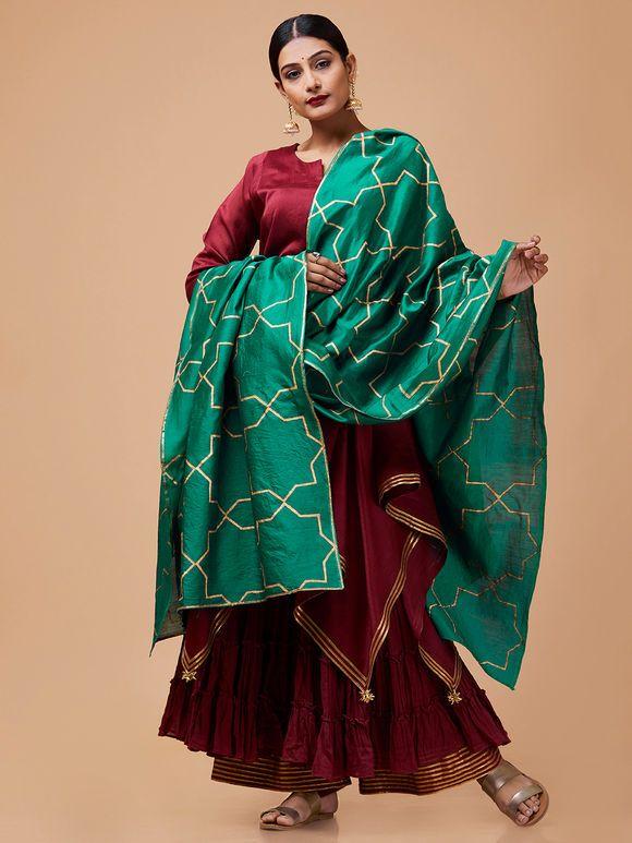 43c4103f74 Green Hand Block Printed Sitara Dupatta. Maroon Green Chanderi Mulmul  Sharara ...